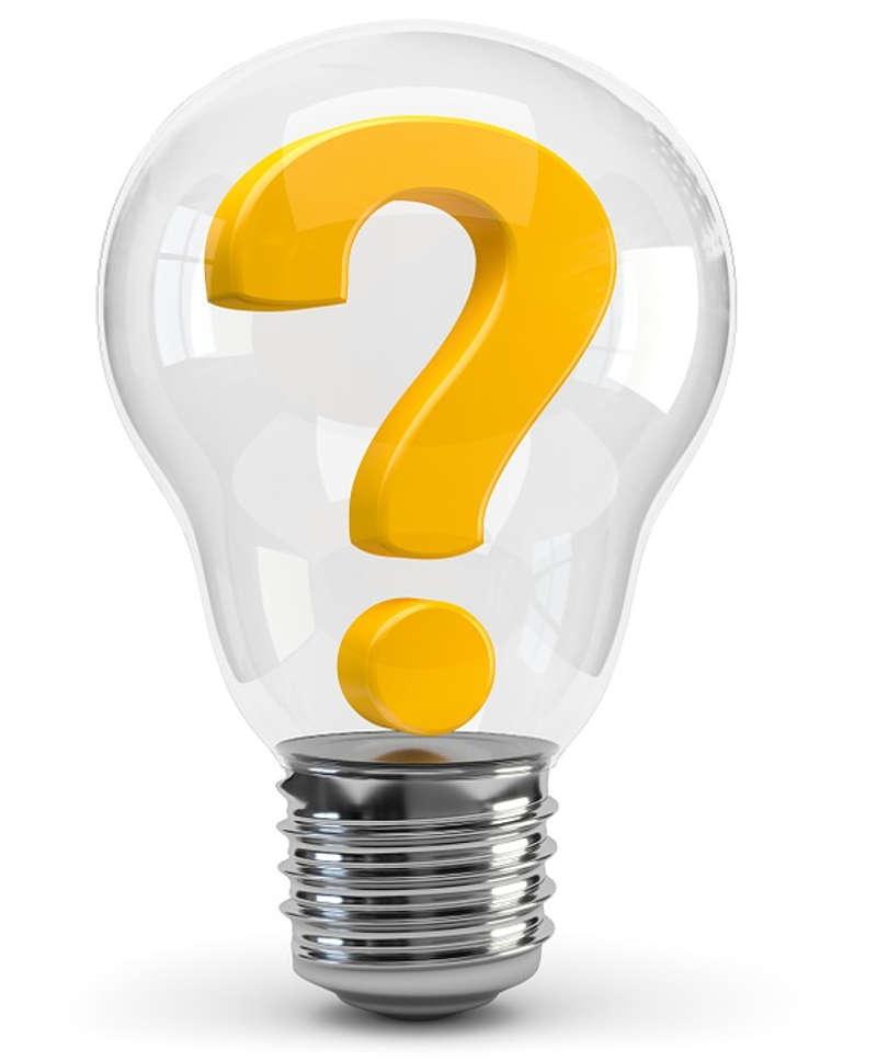 Een foto van een lampje met een vraagteken erin. Deze afbeelding staat voor weten en ontdekken