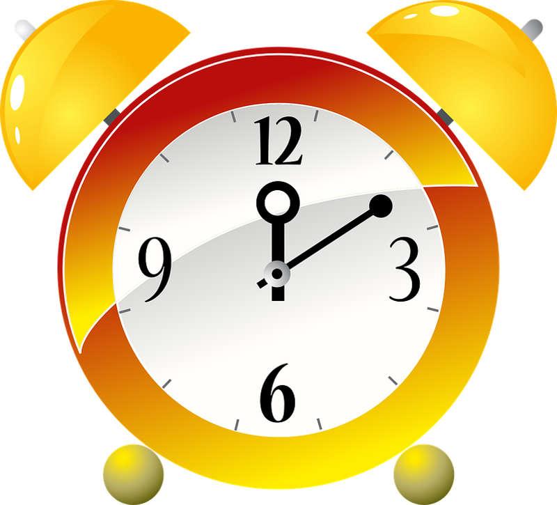 Een afbeelding van een wekker, die de tijd aangeeft.