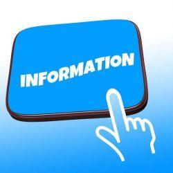 Foto van een bord met het woord information erop.