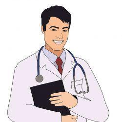 Een getekende afbeelding van een arts.