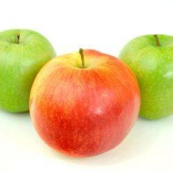 Een foto van drie appels. Dit staat voor gezonde voeding